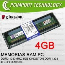 MEMORIA RAM DDR3 1333MHZ 4GB KINGSTON PC3-10600