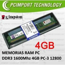 MEMORIA RAM DDR3 1600MHZ 4GB KINGSTON PC3-12800